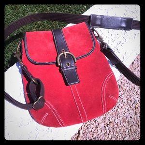 Rare red/orange suede COACH crossbody purse.